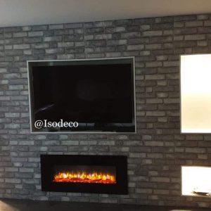 TV-Wand Wandpaneele Backstein grau L1903